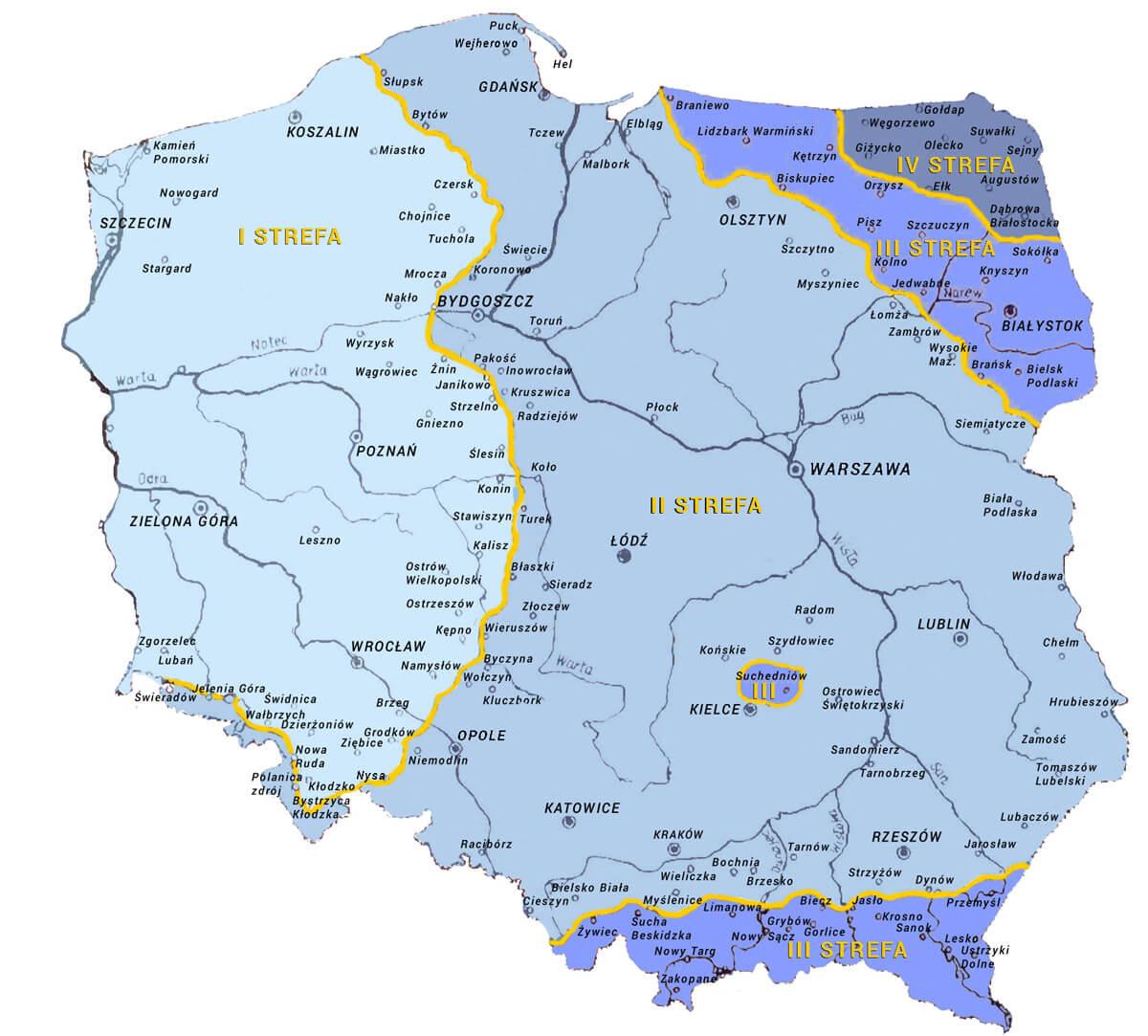 Mapa zasięgu stref przemarzania gruntu w Polsce