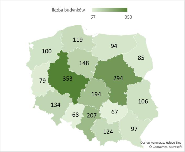 Liczba nowych budynków magazynowych, zbiorników i silosów w województwach – średnia 2005-2020