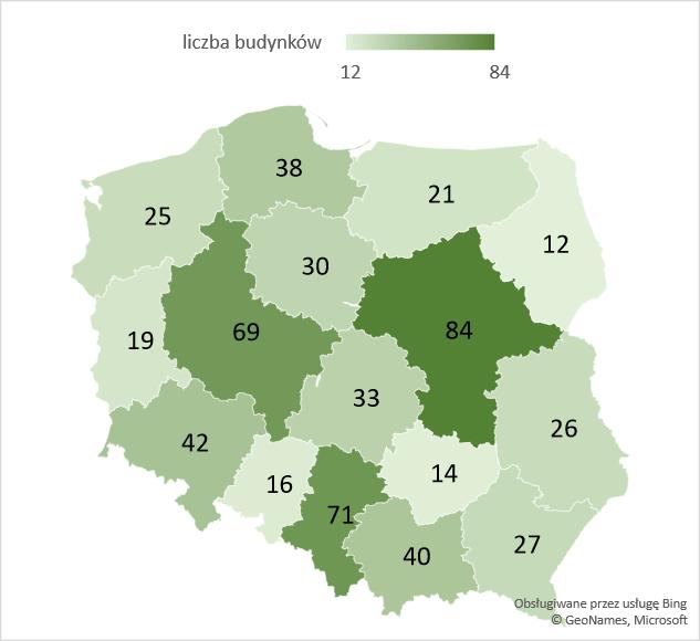 Liczba nowych budynków biurowych w województwach – średnia 2005-2020