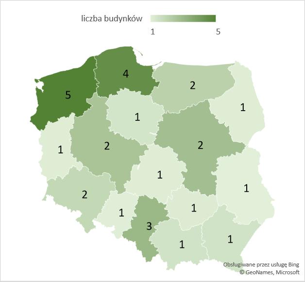 Liczba rozbudowanych budynków zakwaterowania turystycznego w województwach – średnia 2005-2020