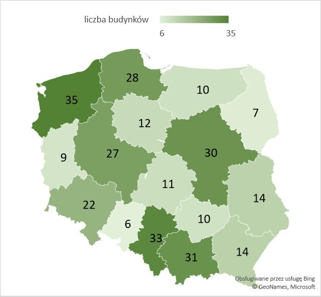 Liczba nowych hoteli w województwach – średnia 2005-2020