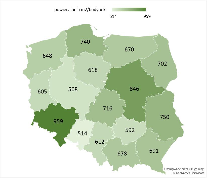Średnia powierzchnia użytkowa rozbudowanych budynków szkół i instytucji badawczych oddanych w województwach w latach 2005 - 2020