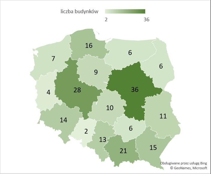 Liczba nowych budynków szkół i instytucji badawczych w województwach – średnia 2005-2020