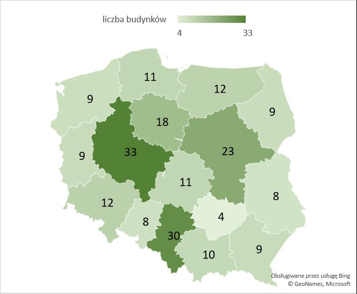 Liczba rozbudowanych budynków garaży w województwach – średnia 2005-2020