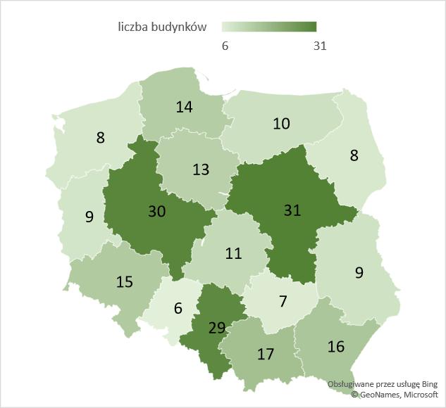 Liczba rozbudowanych budynków biurowych w województwach – średnia 2005-2020