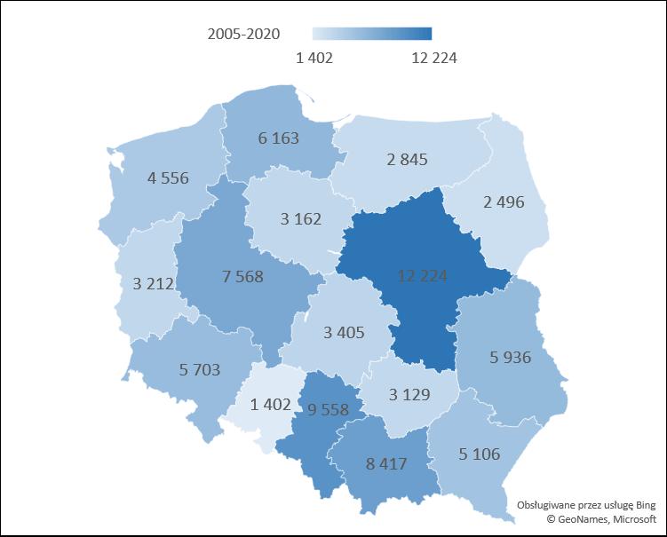 Nakaz rozbiórki samowoli budowlanych w województwach w latach 2005 - 2020