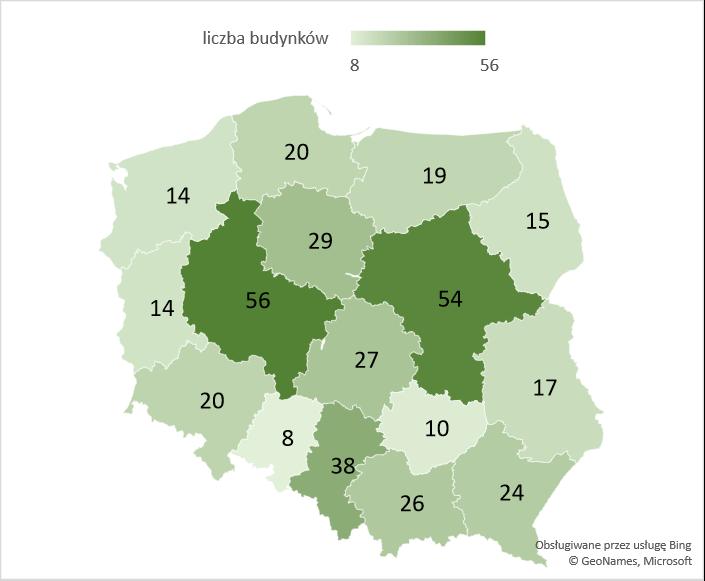 Liczba rozbudowanych budynków magazynowych, zbiorników i silosów w województwach – średnia 2005-2020
