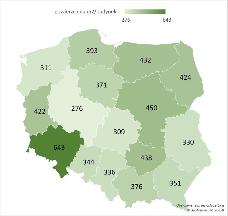 Średnia powierzchnia użytkowa rozbudowanych budynków handlowo-usługowych oddanych w województwach w latach 2005 -2020