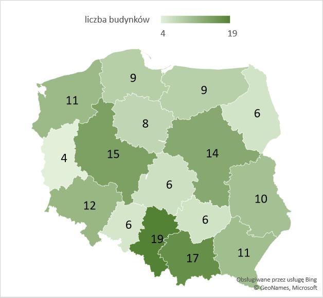 Liczba rozbudowanych hoteli w województwach – średnia 2005-2020