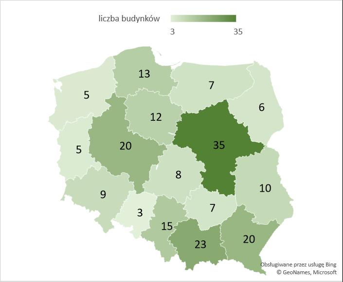 Liczba rozbudowanych budynków szkół i instytucji badawczych w województwach – średnia 2005-2020