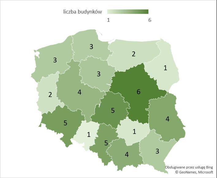 Liczba nowych budynków łączności, dworców i terminali w województwach – średnia 2005-2020