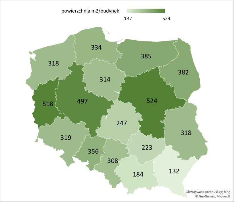 Średnia powierzchnia użytkowa nowych budynków gospodarstw rolnych oddanych w województwach w latach 2005 -2020