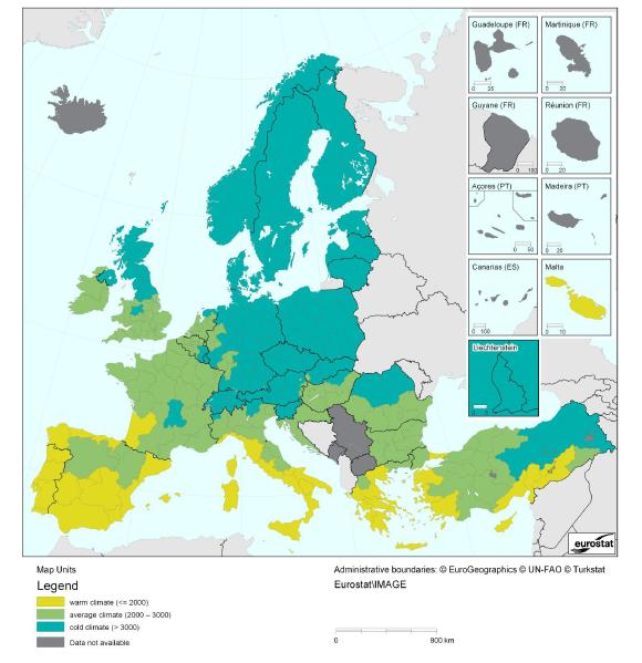 Strefy klimatyczne poszczególnych państw w Europie