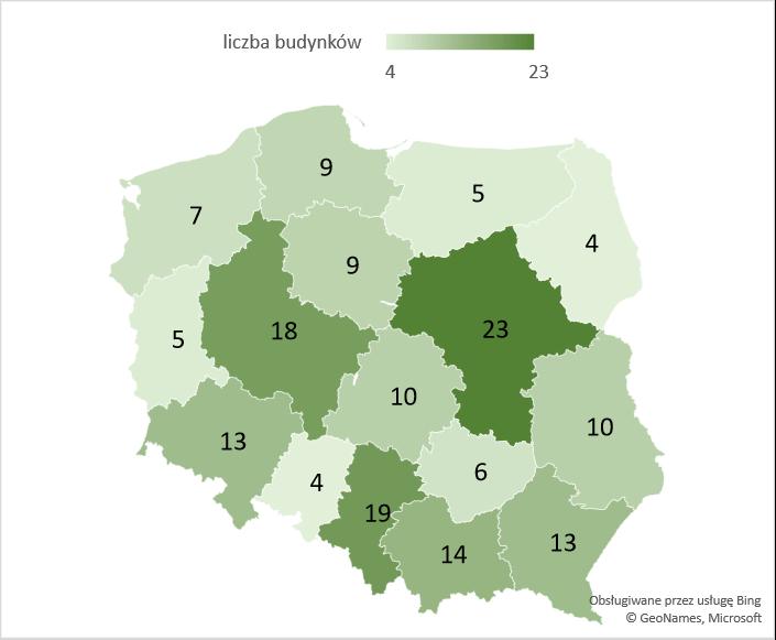 Liczba nowych budynków szpitali i zakładów opieki medycznej w województwach – średnia 2005-2020
