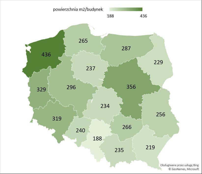 Średnia powierzchnia użytkowa rozbudowanych budynków gospodarstw rolnych oddanych w województwach w latach 2005 -2020
