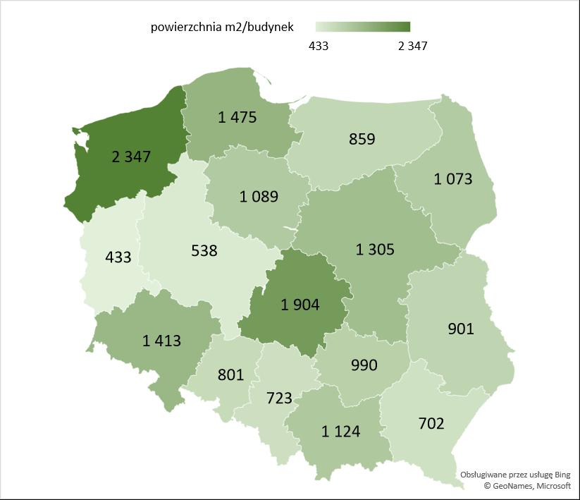 Średnia powierzchnia użytkowa nowych budynków szpitali i zakładów opieki medycznej oddanych w województwach w latach 2005 -2020
