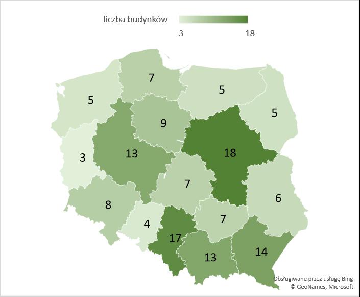 Liczba rozbudowanych budynków szpitali i zakładów opieki medycznej w województwach – średnia 2005-2020