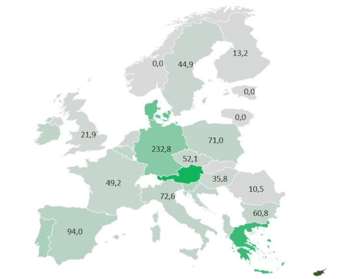 Wskaźnik powierzchni kolektorów słonecznych zainstalowanych w Europie na 1000 mieszkańców